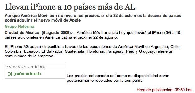 Nota de Reforma.com del 6 de Agosto