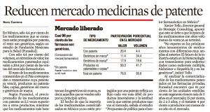 Reducen el mercado de medicinas de Patente